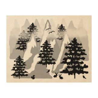 森林素朴な松の木山動物の子供部屋 ウッドウォールアート