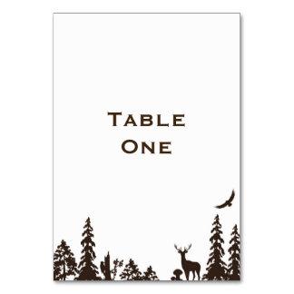 森林結婚式のテーブル名前か数 カード
