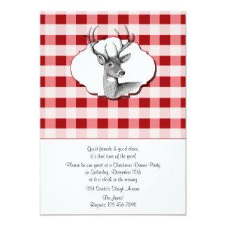 森林赤と白の点検されたクリスマス夕食 カード