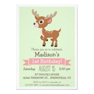 森林赤ん坊のシカ、子鹿の誕生日のパーティの招待状 12.7 X 17.8 インビテーションカード
