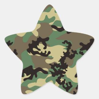 森林迷彩柄のステッカー 星型シール