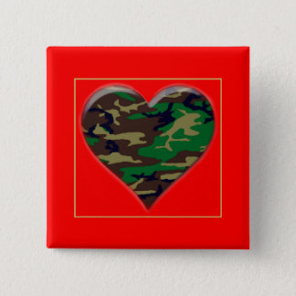 森林迷彩柄のハートのバレンタインボタン愛して下さい 5.1CM 正方形バッジ