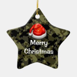 森林迷彩柄の星のメリークリスマスのオーナメント セラミックオーナメント