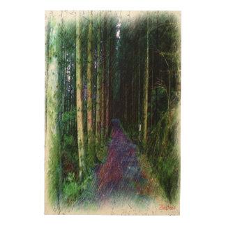 森林道のスケッチ ウッドウォールアート