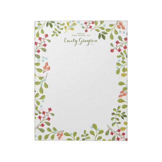 森林野生の花の名前入りな社会的な文房具 ノートパッド