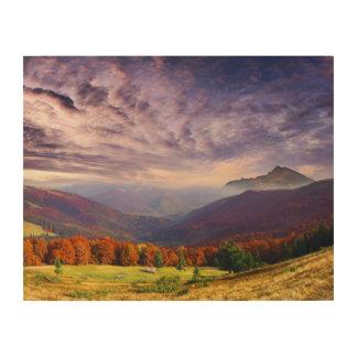森林2との山の秋の景色 ウッドウォールアート