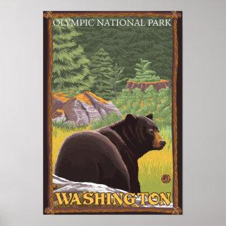 森林-オリンピック国立公園、WAのツキノワグマ ポスター