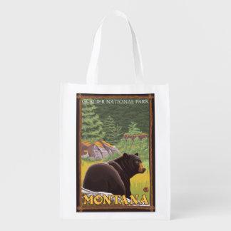 森林-グレーシャー国立公園、MTのツキノワグマ エコバッグ