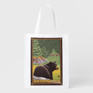 森林-ワシントン州のツキノワグマ エコバッグ