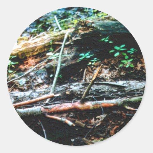 森林 床 丸形シール・ステッカー