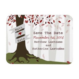 森林/森林赤い結婚式の保存日付の磁石 マグネット