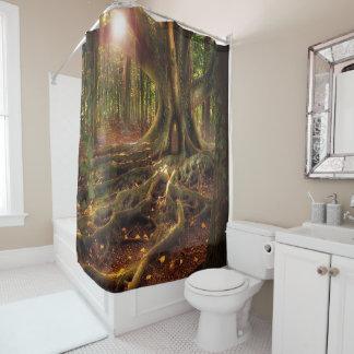 森林、異教徒、Wiccaの小妖精や小人、妖精 シャワーカーテン