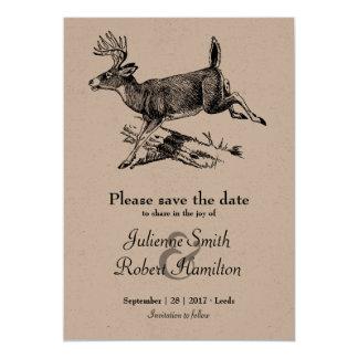 森林 素朴なシカのクラフト紙の保存日付 カード
