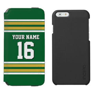 森林Grnの金ゴールドの白いチームジャージーカスタムな数名前 Incipio Watson™ iPhone 6 財布ケース