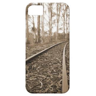 森林iPhone 5の場合のセピア色の鉄道線路 iPhone SE/5/5s ケース