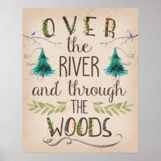 森16x20の森林プリントを通した川に ポスター