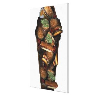 棺のイラストレーションはファースト・フードで満ちました キャンバスプリント