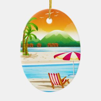 椅子および傘とのビーチ場面 セラミックオーナメント