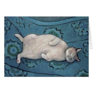 椅子の挨拶状の猫 カード
