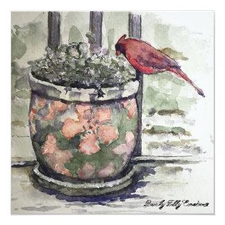 植木鉢の冬場面の(鳥)ショウジョウコウカンチョウ カード