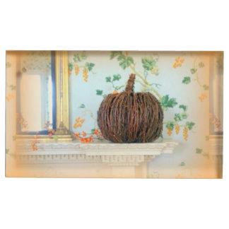 植民地バスケットのカボチャテーブルの帯出登録者 テーブルカードホルダー
