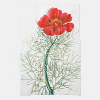 植物のシャクヤクの花柄の花の台所タオル キッチンタオル