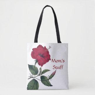 植物のスタイルの赤い花 トートバッグ