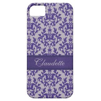植物のダマスク織の紫色の灰色iphone5の箱 iPhone SE/5/5s ケース