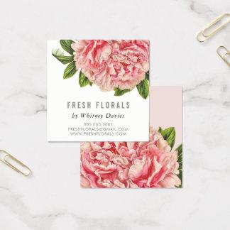 植物のピンクのシャクヤクの花のスタイリッシュなヴィンテージの花柄 スクエア名刺