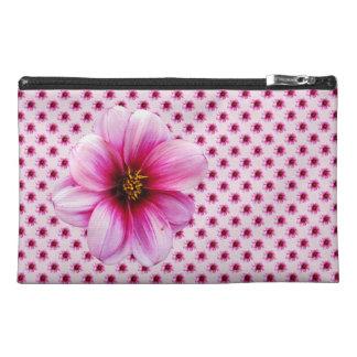 植物のピンクのダリアの花 トラベルアクセサリーバッグ