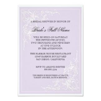 植物のピンクのバラ、ラベンダーのブライダルシャワーの招待 カード