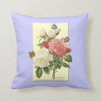 植物のピンクの白いバラの蝶枕 クッション