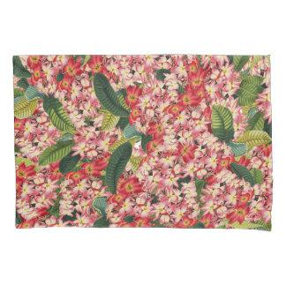 植物のプルメリアの花の花柄のコラージュ 枕カバー