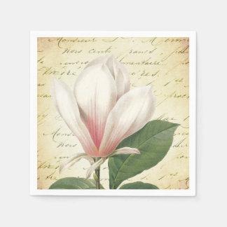 植物のマグノリアの花のヴィンテージ スタンダードカクテルナプキン