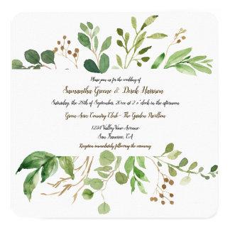 植物の夢の正方形の結婚式招待状 カード