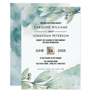 植物の水彩画のカスタムの結婚式招待状 カード