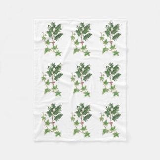 植物の水彩画のヒイラギおよびキヅタの小枝 フリースブランケット