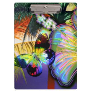 植物の熱帯花の蝶 クリップボード