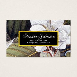 植物の白いマグノリアのヴィンテージ 名刺