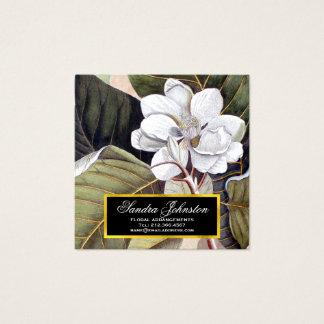 植物の白いマグノリアの花のヴィンテージ スクエア名刺