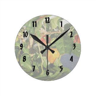 植物の砂岩のHabaneroのコショウ ラウンド壁時計