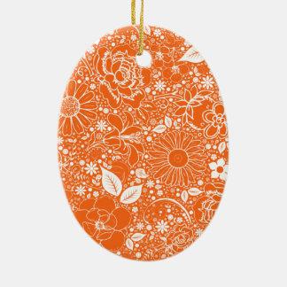 植物の美しいのオレンジ楕円形のオーナメント セラミックオーナメント