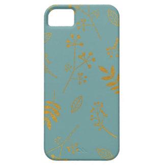 植物の花の葉の模造のな金ゴールドホイルの石板の青 iPhone SE/5/5s ケース