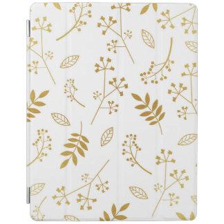 植物の花柄の葉の模造のな金ゴールドホイルの白 iPadスマートカバー