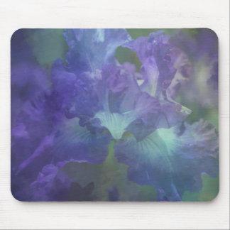 植物の芸術の印象主義の花の紫色のアイリス マウスパッド