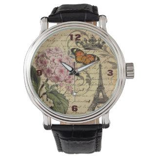 植物の芸術はアジサイのパリエッフェル塔の台本を書きます 腕時計