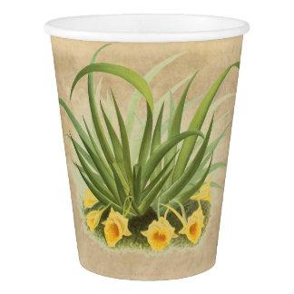 植物の蘭の花の花の子牛皮紙の紙コップ 紙コップ