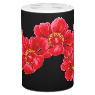 植物の赤いシャクヤクの花の花柄のバスセット バスセット