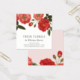 植物の赤いバラの花のスタイリッシュなヴィンテージの花柄 スクエア名刺