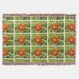 植物の鮮やかなオレンジマリーゴールドの花柄 スローブランケット